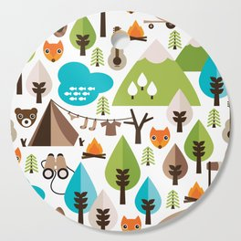 Wild camping trip with fox and wild animals illustration Cutting Board