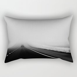 On the Road - Road trip photo, fog photograph, highway dramatic, landscape photo Rectangular Pillow