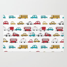 Cars trucks buses city highway transportation illustration cute kids room gifts Rug