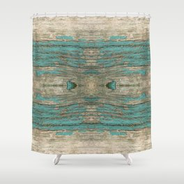Weathered Rustic Wood - Weathered Wooden Plank - Beautiful knotty wood weathered turquoise paint Shower Curtain