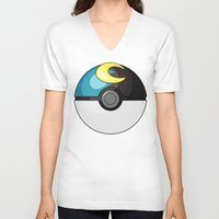 pokeball V-neck T-shirts featuring Moon Pokeball by Amandazzling