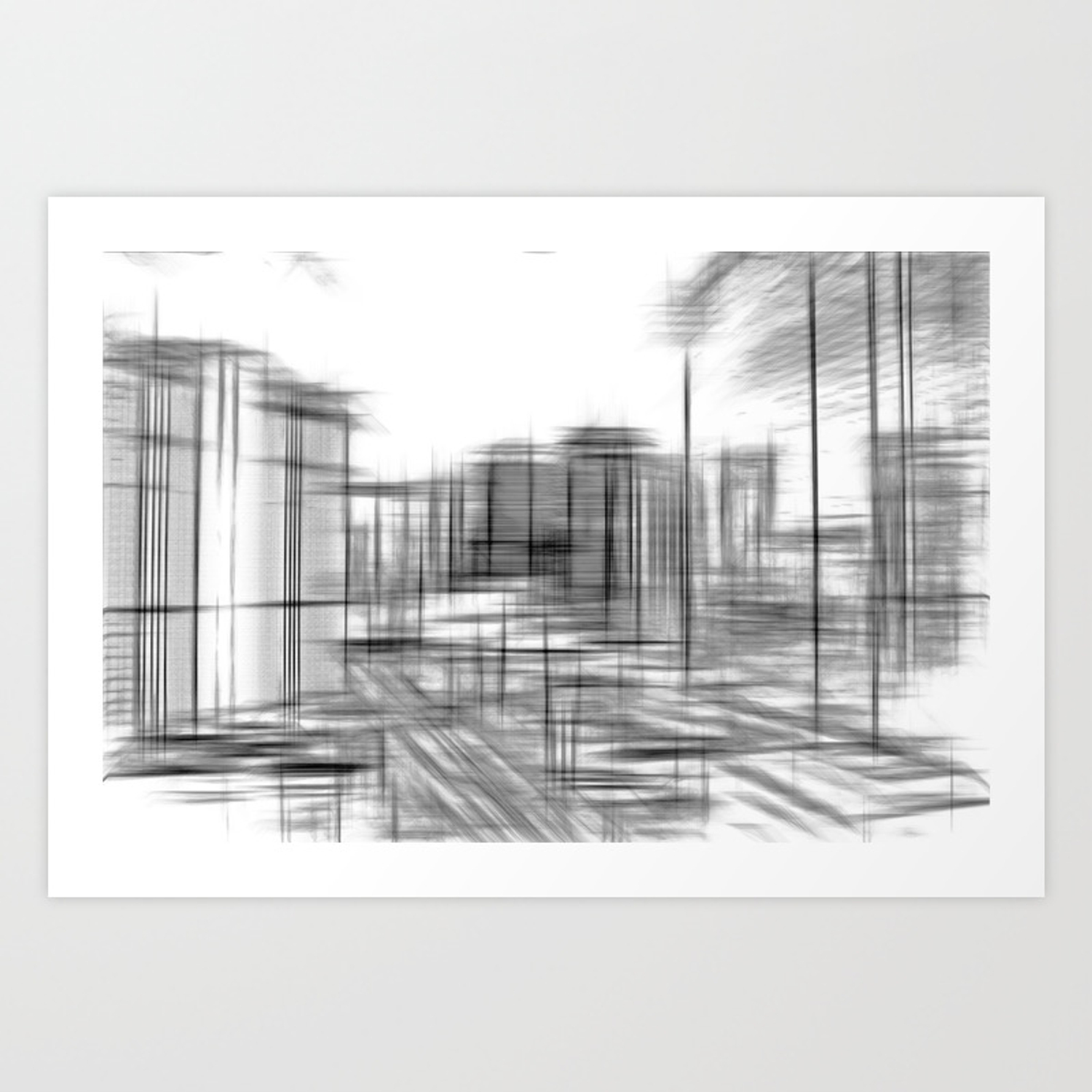 Pencil drawing buildings in the city in black and white art print