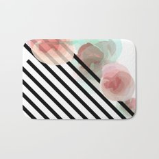 Watercolor Floral with Stripes Bath Mat