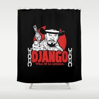 django Shower Curtains featuring Django logo v2 by Buby87