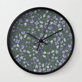 Purple Watercolor Flowers on Green Wall Clock