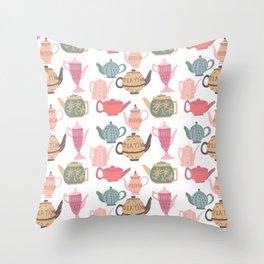 Vintage Tea Pots Time for Tea Multi on White Art Throw Pillow Throw Pillow