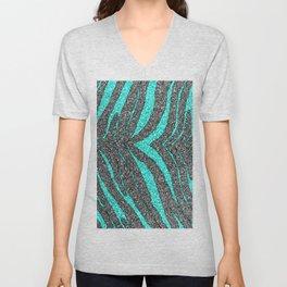 Abstract turquoise black glitter zebra animal print  Unisex V-Neck