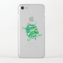 Tropical sea turtle - turquoise aqua blue Clear iPhone Case