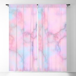 Blush pink teal watercolor trendy marble Blackout Curtain