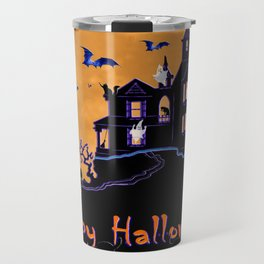 Halloween Haunted House Travel Mug