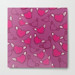 Pink Hearts with Angel Wings Valentine's Day Pattern Metal Print
