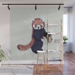 Cute Red Panda and Coffee / French Press and Botanicals Art Print, Green, Orange, Navy  Wall Mural
