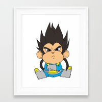 vegeta Framed Art Prints featuring Monkey Vegeta by Kame Nico