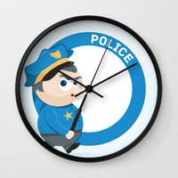 police Wall Clocks featuring Police by Emir Simsek