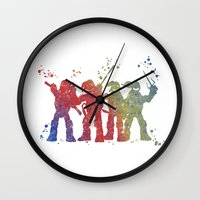 teenage mutant ninja turtles Wall Clocks featuring Teenage Mutant Ninja Turtles by Carma Zoe
