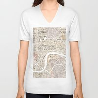 london map V-neck T-shirts featuring LONDON by Mapsland