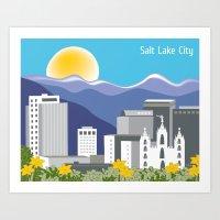 Salt Lake City, Utah- Skyline Illustration by  Loose Petals LLC Art Print
