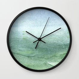 Green Blue blurred watercolor design Wall Clock
