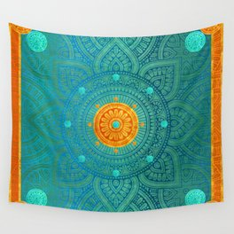 """""""Turquoise and Gold Mandala"""" Wall Tapestry"""