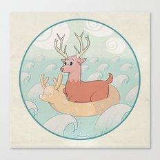 Deer Across the Sea Canvas Print