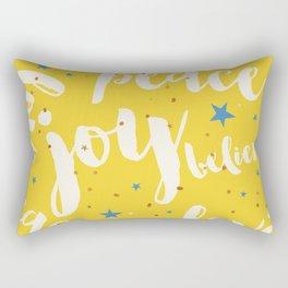 Peace & Joy Typography Yellow Background Rectangular Pillow
