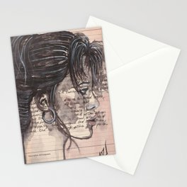 Handwritten letter with portrait Stationery Cards