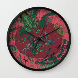 Red Bucket  Wall Clock