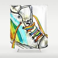shoe Shower Curtains featuring Rainbow Shoe by Amy frances Illustration