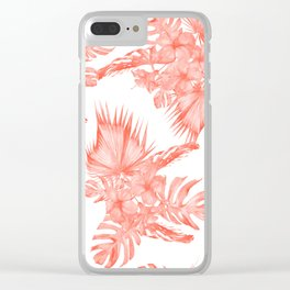 Tropical Palm Leaves Hibiscus Flowers Deep Coral Clear iPhone Case