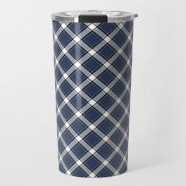 Navy Blue, White, and Black Diagonal Plaid Pattern Travel Mug