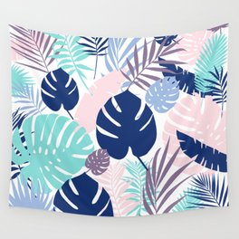 Tropical Leaves Blue Purple Wall Tapestry