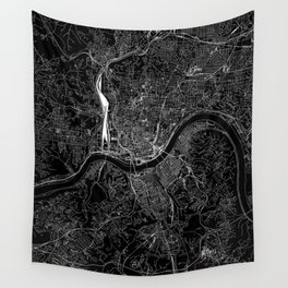 Cincinnati Black Map Wall Tapestry