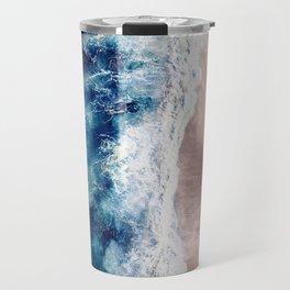 Ocean Wave on Sandy Beach Travel Mug
