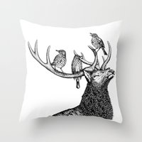 river song Throw Pillows featuring Song by Natalie Toms Illustration