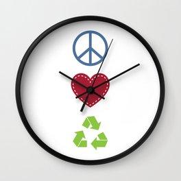 Peace Love Recycle Earth Day Environmental Awareness Wall Clock