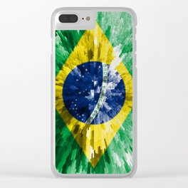 Extruded flag of Brazil Clear iPhone Case