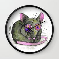 rat Wall Clocks featuring Rat by Bwiselizzy