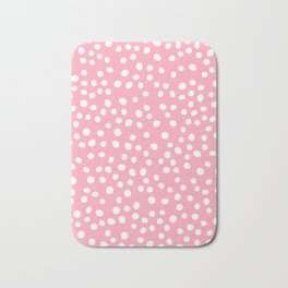 Bright pink and white doodle dots Bath Mat