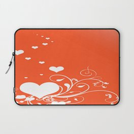 White Valentine Hearts On Red Background Laptop Sleeve