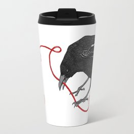 Crow with Red String Travel Mug
