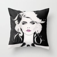 blondie Throw Pillows featuring Blondie by Christopher Morris