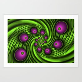In the Vortex Fractal Neon Pink Green Art Print