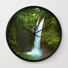 The Valley's Waterfall (Color) Wall Clock