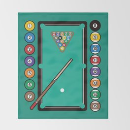 Billiards Table And Equipment Throw Blanket