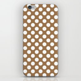 Brown and white polka dots iPhone Skin