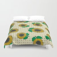 sunflower Duvet Covers featuring Sunflower by Vickn