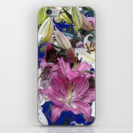 PURPLE & WHITE ASIAN GARDEN LILIES DRAWING iPhone Skin