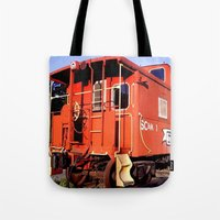 artrave Tote Bags featuring Lil Red Caboose -Wellsboro Ave Hurley ArtRave by ArtRaveSuperCenter: Ave Hurley Illustrat