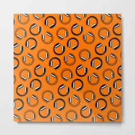 Headphones-Orange Metal Print