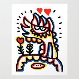 Cool Loving Graffiti Street Art Monster with Flowers  Art Print